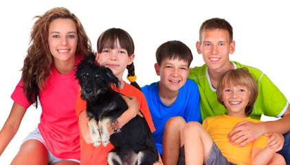 Sister ,brothers and dog pet