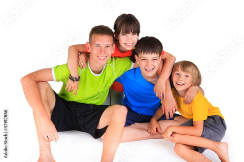 Happy sister with brothers