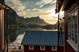 Midnight at idyllic fishing village Reine in Lofoten islands