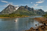 Fishing boat at Lofoten in northern Norway