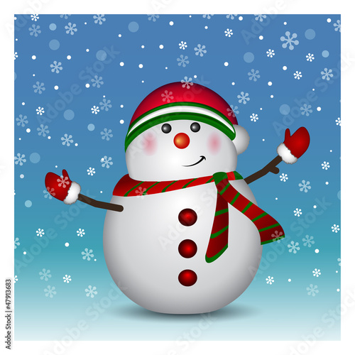 Snowman wearing santa hat and gloves - background, vector