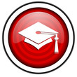graduation red glossy icon isolated on white background