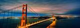 Fototapety panoramic view of Golden Gate Bridge by night