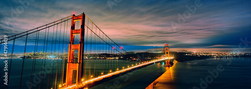 panoramic view of Golden Gate Bridge by night