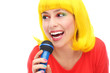 Yellow hair girl with microphone