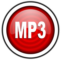 mp3 red glossy icon isolated on white background