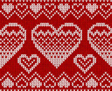 Valentines day red knitted sweater vector seamless pattern