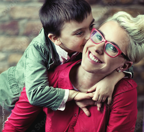 Joyful mother with her son