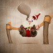 Santa claus with elastic catapult