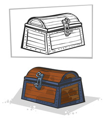 Old chest. Cartoon style.