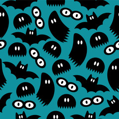 Seamless pattern with ghosts and bats