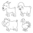 illustration of farm animals cartoon - Coloring book