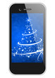 moblie phone with christmas tree wallpaper
