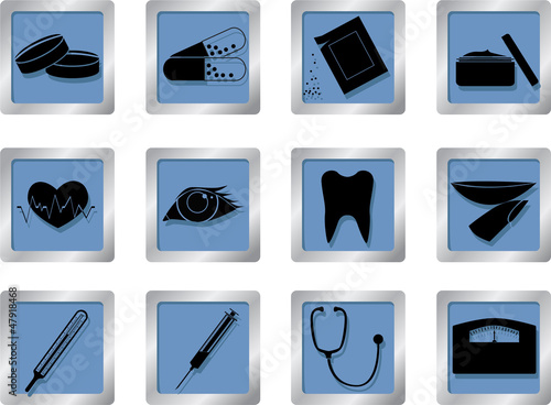 medical icons on square buttons