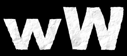 Crumple paper alphabet - W