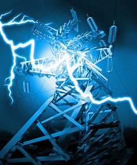 Power Transmission Line. Lightning strike. 3d render