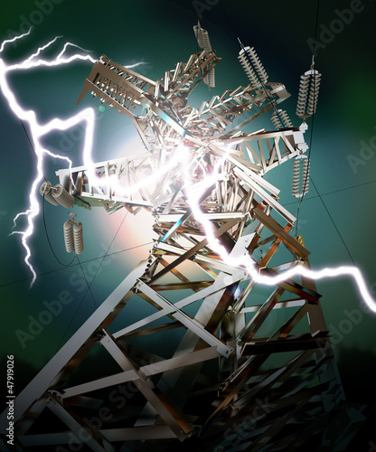 Power Transmission Line. Lightning strike. Crash. 3d render
