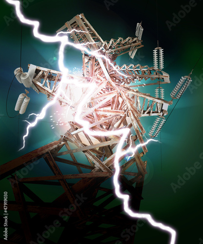 Power Transmission Line. Lightning strike. Crash