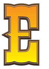 Western alphabet letter - E