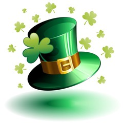 St Patrick's Day Hat and Shamrock-Cappello Cilindro e Trifoglio