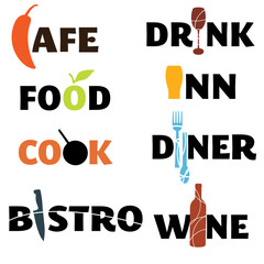 Food and drink word graphics