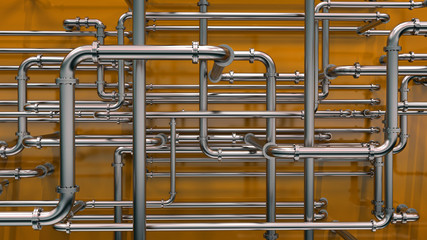 steel pipes on orange background