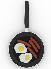 pan with sausage  and eggs