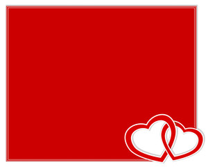 Valentine's day card with two hearts.