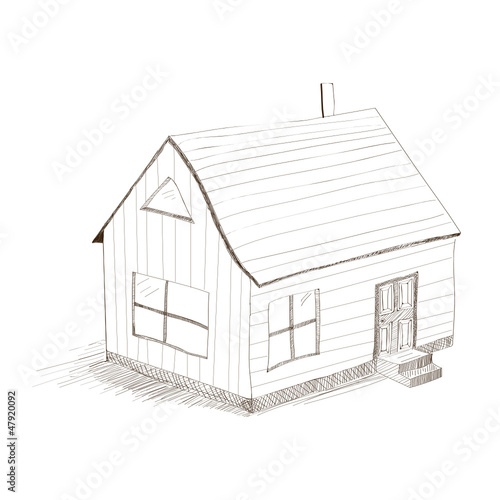 hand drawing house. vector illustration on white background