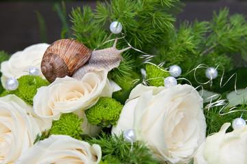 Brautstrauß mit Schnecke