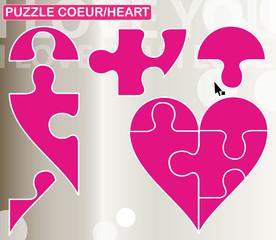 puzzle coeur cinq parties