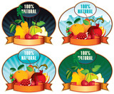 set of four stamps bearing fruit and labeled 100% Natural