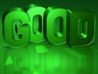 3D Word Good on green background