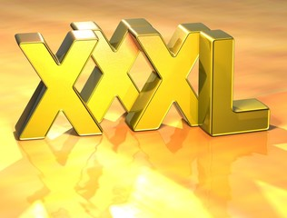 3D Word XXXL on gold background