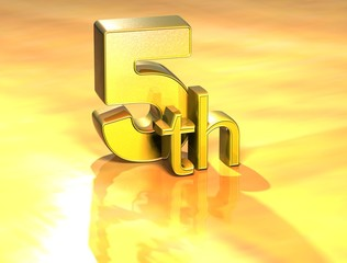 3D Word Fifth on gold background