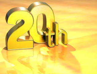 3D Word Twentieth on gold background