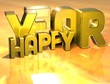 3D Word Happy Year on gold background