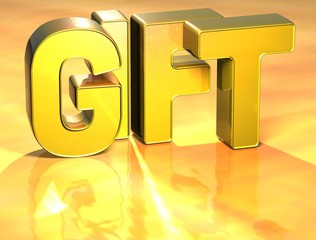 3D Word Gift on gold background