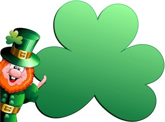 Patrick Paddy Cartoon Shamrock Card-Trifoglio Cartellone