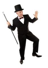 Happy rich man is dancing