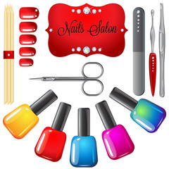 Nails salon set of vector illustrations