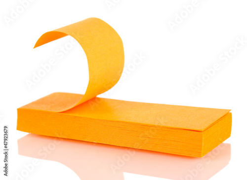 Orange sticky notes isolated on white