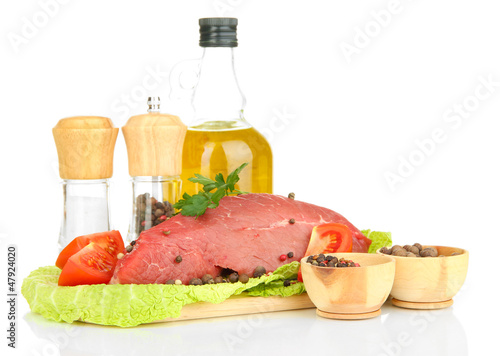 Raw beef meat marinated with herbs, spices and cooking oil