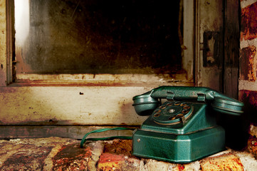 Retro Phone - Vintage Telephone by Old Grunge Window and Brick W