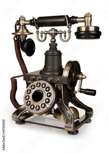 Obraz w ramie Retro Phone - Vintage Telephone isolated on White Background