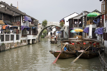 Traditional water taxis in the center of town, Zhujiajiao, China