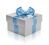Fototapety Silver gift box with blue ribbon over white background.