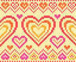 Valentines day colorful knitted sweater vector seamless pattern