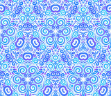 Blue abstract ornate flowers seamless pattern