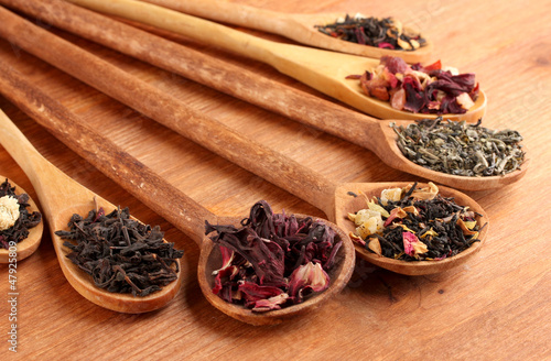 assortment of dry tea in spoons, on wooden background